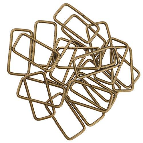 B Baosity 20x Metall Dee Metallring Square Buckle Bag Strap Connector Gurtband Ringe für DIY Geldbörse Machen - Bronze, 38x16x2.8mm -
