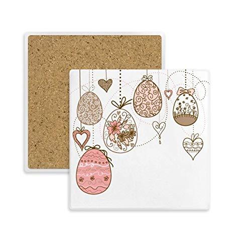 Ostern Religion Cute Pink zum Aufhängen farbigen Ei quadratisch Untersetzer Cup Becher Halter saugfähig Stein für Getränke 2Geschenk