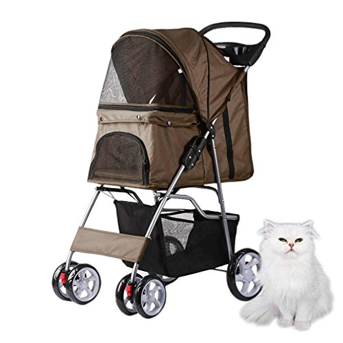 ALTERDJ Kinderwagen für Hunde Katze Tiere, PET Stroller, 82 x 45 x 97 cm, mit der Regen Abdeckung und die Tasche Einkaufskorb, bis 15 kg, getan Stoff-600D Oxford und Stahl, Katze und Hund (Kaffee)