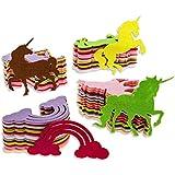 Paquete de 100 recortes de fieltro con forma de unicornio arcoíris para manualidades, 4 diseños, colores surtidos