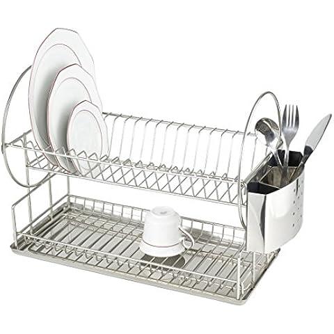 Wenko 2329100 Duo - Escurridor de platos con espacio para cubiertos y bandeja (21 x 33 x 49 cm), acero inoxidable