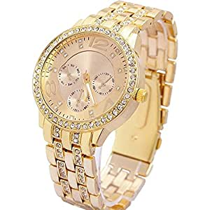 COSMIC Rhinestone Water Resistant Analogue Gold Dial Women's Watch