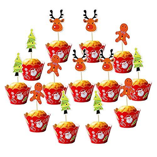 Dream Loom Cupcake Toppers und Liner, 24 Stück Feiertags-Muster Kuchen-Verpackungs-Backen-Zubehör, Kuchen und Muffin Dekoration Für Festivalthema und Geburtstagsfeier ()