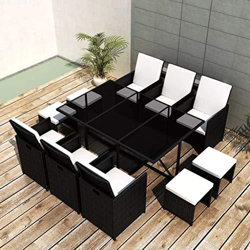 Tidyard Garten Essgruppe 27-TLG. Poly Rattan Gartenmöbel Set Tischset Sitzgruppe | Tisch und Stuhl Set | Gartentisch und Stühle | Gartensofa Set