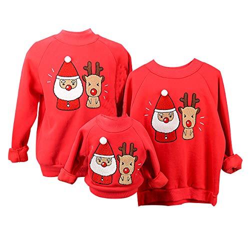 felpe natale famiglia felpa natalizia babbo maglione natalizio renna maglioni natalizi coppia divertenti maglie natalizie donna pullover girocollo uomo bambina bambini senza cappuccio casual rosso