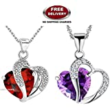 (2 PCS COMBO SET) GALAXINA PENDANTS WITH PREMIUM HEART SHAPED RED & PURPLE CRYSTAL STONE - THE MOST LOVABLE, CHERISHED & A LIFE TIME VALENTINE GIFT TO ❤SOMEONE SPECIAL❤ EXCLUSIVELY ONLY FOR PROFOUND & PASSIONATE LOVE. LADY HAWK D