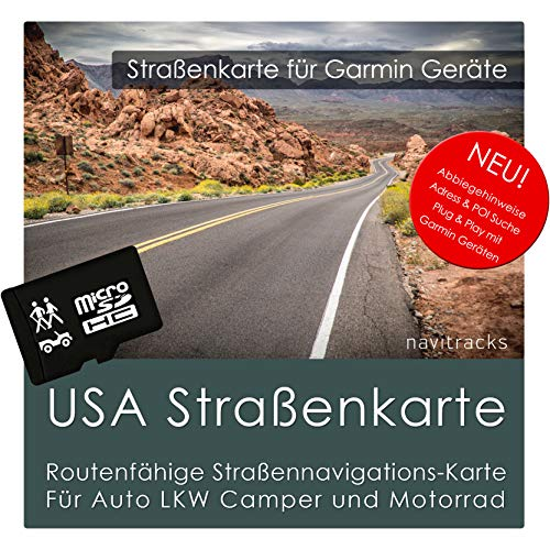 USA Garmin Karte 4 GB microSD. GPS Straßenkarte. Routenplanung für Navigationsgeräte