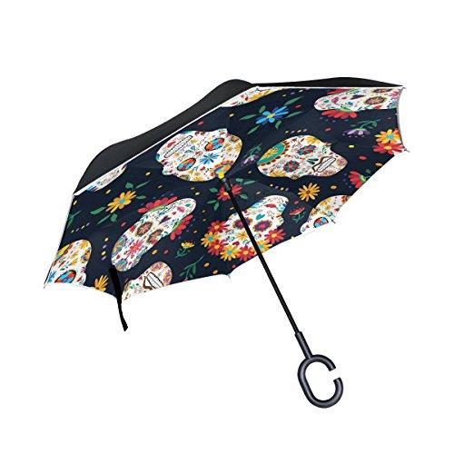 TIZORAX Sugar Skull Strass Gemälde in direkt Double Layer Regenschirme inside-out Wende-Regenschirm mit Griff c-shaped Sonne Regen-Einsatz Einheitsgröße Pattern-7