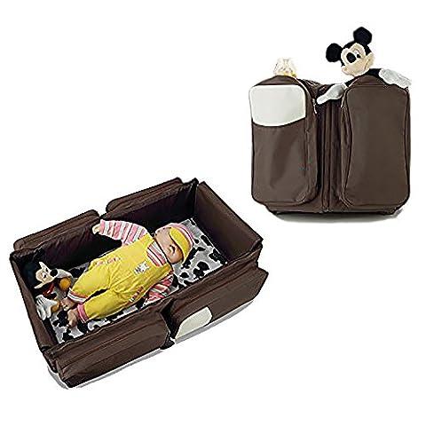 Webeauty® 3 en 1 - Nouveau multifonction Sac à couches - Voyage du nouveau-né Portable Lit pliant Nappy Infant Carrycot Baby Safe Toddler Bed Sac fourre-tout (brown)