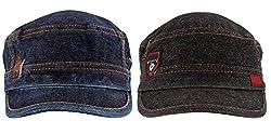 Zacharias Men's Denim Cap Pack of 2 Black & Blue