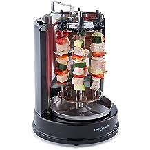 oneConcept Twist & Grill griglia elettrica (1400 Watt di potenza, uno spiedo sull'asse principale, sei spiedini separati, rotazione a 360°, cucina a basso contenuto di grassi) - nero