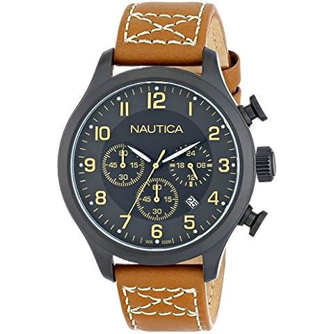 Nautica N16599G Ruk-Chrono 101 con orologio, in acciaio INOX, cinturino in pelle, colore: marrone chiaro