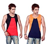 White Moon Gym Vests - Pack of 2 (Red_Bl...