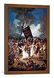 kunst für alle Bild mit Bilder-Rahmen: Francisco José de GoyaDas Begräbnis der Sardine. Karnevalsszene - Dekorativer Kunstdruck, Hochwertig gerahmt, 55x75 cm, Kupfer Gebürstet