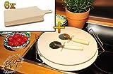 2x MASSIVER ca. 2 KG Pizzastein, Heisser Stein aus Thermo-Ton KOMPLETT mit verchromter Stahlhalterung, Größe ca. 33 cm x 12 mm & 6 Stück Massiv-Holzbrett ca. 15 mm stark, Schneidebrett mit Holzgriff, mit abgerundeten Kanten, Maße viereckig ca. 35 cm x 16 cm als Bruschetta-Servierbrett, Brotzeitbrett, Bayerisches Brotzeitbrettl, NEU Massive Schneidebretter, Frühstücksbretter, Picknick Grill-Set