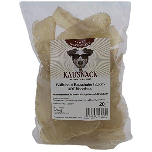Rinderohr - Büffelhaut Kauschuhe 12,5cm - 60 Stück