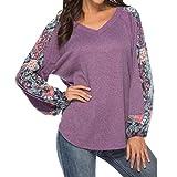 Luckycat Mujeres Casuales Tops Impresos de Manga Larga Cuello en v Camisetas Sueltas suéter