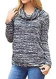 Guzim Frauen-Gymnastik-Trainings-lange Hülsen-Schildkröten-Hals-zufälliger Sport-Pullover-Sweatshirt (Farbe : Grey, Größe : US-M)