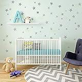 Raumdekoration Wandaufkleber Kinderzimmer Aufkleber Pastell Wanddekoration Sterne in Schattierungen zu Stick Wand dekorative Wandaufkleber (silber)