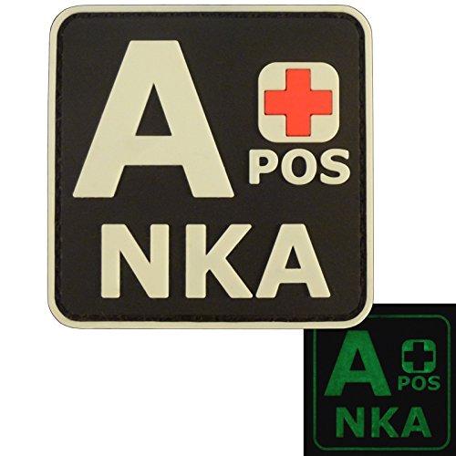Glow Dark APOS A+ NKA Blutgruppen No Known Allergies Taktisch Tactical Morale PVC Gummi Velcro Aufnäher Patch