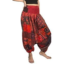 Tribe Azure Fair Trade Pantalones para Mujer Grande Deslumbrante Rojo
