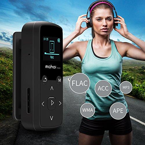 Mymahdi Clip musical Sport, reproductor MP3 Bluetooth de 24 GB con función de grabación de voz FM Radio, negro con pantalla LCD y ranura para tarjeta microSDHC, funda de silicona resistente al sudor, soporte hasta 128 GB …