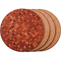 Caramella Bubble Natural Cork Coasters for Drinks|Thick,Waterproof,Eco-Friendly,Heat-Resistant|Avoid Spills, Scratches, Water Rings and Damages on Furniture|Round Style Set of 4