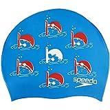 Speedo Junior Slogan Swimming Cap, Kids Free Size (Blue/Red)