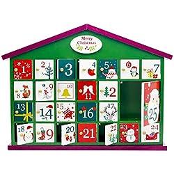 Calendario de cuenta regresiva de la casa verde Navidad,pueblo navideño festivo de 25 días,calendario adviento cuenta regresiva madera,caja almacenamiento regalos dulces para niños la casa bricolaje