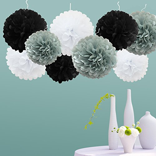 tts-9-pack-mixed-tissue-paper-pompoms-pom-poms-flower-wedding-party-decoration-white-light-grey-blac