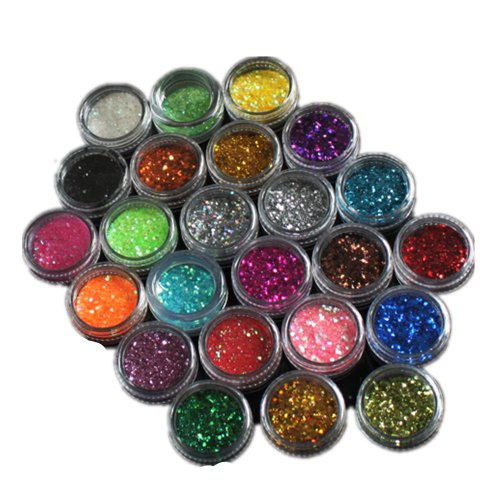 24 couleurs acryliques brillantes Glitter Paillettes UV Fiches Conseils Nail Art D¨¦coration