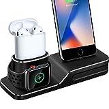Support de Charge pour Apple Watch, 3 en 1 Station de Recharge en Silicone pour...