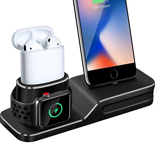Support de Charge pour Apple Watch, 3 en 1 Station de Recharge en Silicone pour iPhone, Apple Watch Series 1/2/3, Airpods, Plus (Câble Non Inclus/Adaptateur)
