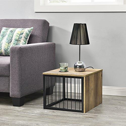[en.casa]® Mesa auxiliar - moderno - mesilla de noche - mesa de centro - Madera y metal - apariencia de madera