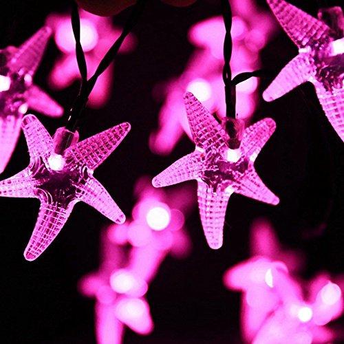 HE-lamp Solar String Lichter, 30 LED Wasserdichte Outdoor String Lichter Für Garten Terrasse Zaun Weihnachtsbaum Hochzeit Festliche Atmosphäre Lichter (Farbe : Rosa)