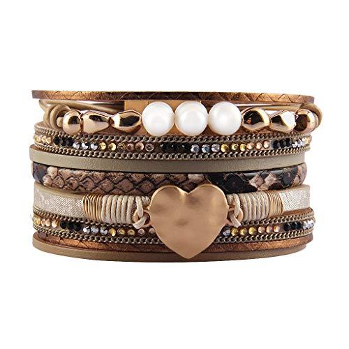 JAOYU Bracelet Cuir Perle Femmes Amour Coeur Bracelets Bracelet Fait Main Boho Bijoux - Cadeaux de No