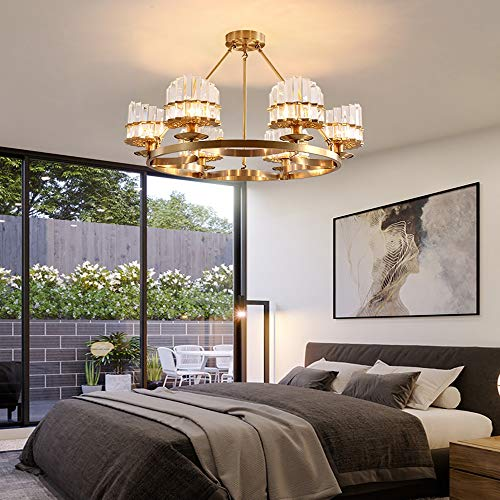 MQW Postmodernen Kristall Wohnzimmer Kronleuchter Licht Einfache Restaurant Kupfer Schlafzimmer Lampe Nordic Lampen E14 * 6 Klassische Mode -