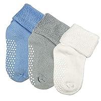 3 Pairs Toddler Boy Girl Non Skid Socks Cotton with Grips Baby Boy Girls Anti Slip Socks Warm