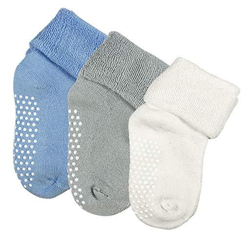 Dokpav Kinder Baby Socken Rutschfest 3er-pack Anti Rutsch Socken aus Baumwolle für Baby Mädchen und jungen 12-36 Monate Soft Warm -