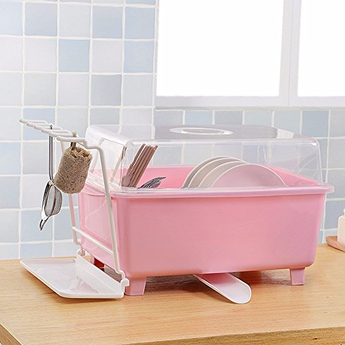 SSBY Vidange du bol de cuisine servir le thé avec des baguettes et des couverts en plastique boîtes de rangement panier à vaisselle égouttoirs à vaisselle,Pink