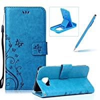 Wallet Leather Case for Samsung Galaxy A3 2016,Book Style Pu Leather Case for Samsung Galaxy A3 2016,Herzzer Retro Blue Butterfly Flower Pattern Flip Fold Pouch Case with Credit Card ID Cash Holders Stand Function Magnetic Closure Case Cover for Samsung Galaxy A3 2016 + 1 x Free Blue Cellphone Kicks