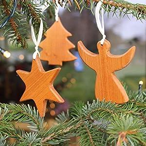 Baumschmuck 3er Set aus Holz Engel Stern Baum | Tannenbaumschmuck | Weihnachtsdeko | Christbaumschmuck Deko | Weihnachtsbaumschmuck | handgemachte Deko Hänger