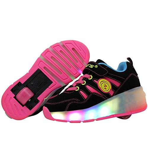 Unisex Sneaker Kinder Jungen Mädchen Skateboard Sport Turnschuhe einzelnes Rad Rollenschuhe Mit LED-Leuchten ohne USB Rote