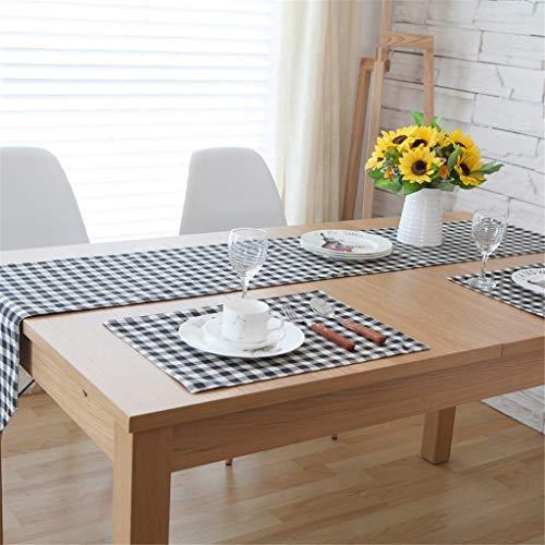 Tischläufer Schwarz Und Weiß Karierten Chinesischen Stil Couchtisch Tuch TV Schrank Desktop Dekoration Möbel Tischdecke (Farbe : A, größe : 30x220cm)