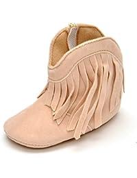Estamico Soft Sole zapatos de bebé niña de alta botas con flecos