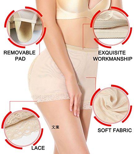 SEXYWG Damen Shapewear Miederslip mit Pad Miederhose Nahtlos Taillenmieder Miederpants Hüfte Unterwäsche Verbessern Aprikose