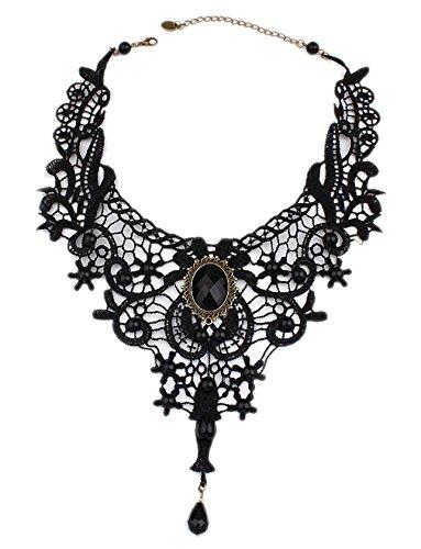 ACVIP Mode Bijoux Collier/ Chaîne Dentelle Noir Perle Artificiel Tour de Cou pour Femme Fille (Noir) Noir