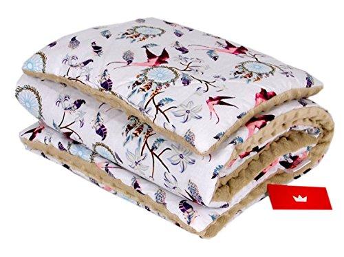 BABYLUX Babydecke Krabbeldecke MINKY Kuscheldecke Decke 75 x 100 cm mit KISSEN 30x35cm (20K. Beige + Vogel)