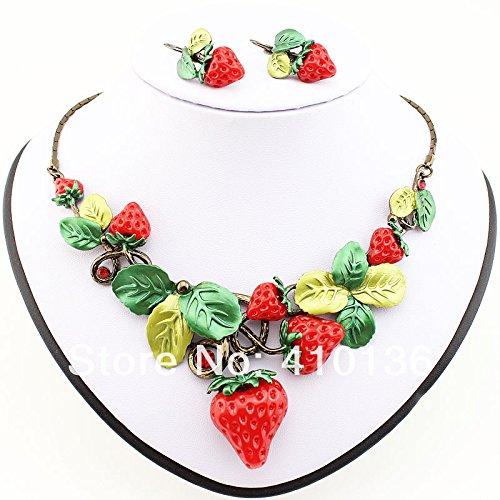 valoxin (TM) ms17208classico set di gioielli di alta qualità placcato oro anticato Rosso Dolce Fragola Frutta collana Set Partito Regalo - Fragola Collana