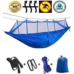 Hamac d'extérieur de Camping Hamac de camping léger avec filet de moustique en nylon Hammock400lb portant la randonnée faisant un sac à dos de voyage 102 * 55in (Couleur : P)